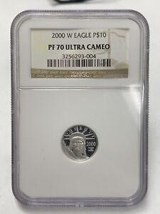 2000 Platinum Eagle Statue Of Liberty $10 1/10 Oz. NGC Pf70 Ultra Cameo