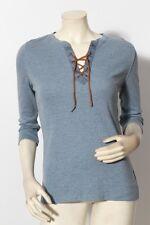 RALPH LAUREN PETITE Cornflower Blue T Shirt Top w/ Lace Up Front sz M NWT $149