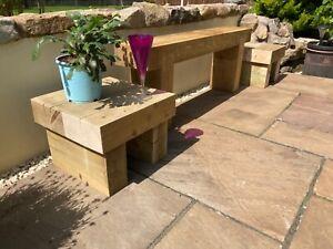 Handmade 40cm Wooden Sleeper Garden Coffee Side Table Furniture Patio