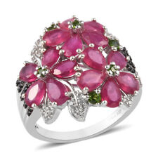 925 Sterling Silver Platinum Over Ruby Chrome Diopside Cluster Ring Gift Ct 0.8