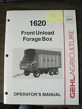 Gehl Operator's Manual for 1620 Front Unload Forage Box