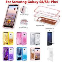 For Samsung Galaxy S8/S8+Plus Liquid Glitter Defender Case w(Clip fits Otterbox)