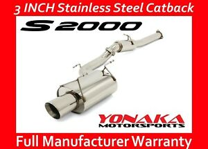 """Yonaka Catback Exhaust 00-05 Honda S2000 3"""" Pipe Exhaust System Stainless Steel"""