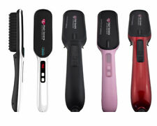 New Fusion Hair Straightening Heated Brush Detangle Comb Electric LCD 4 Colours