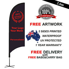 3.1m PERSONALIZED Feather/Bow Flag Banner Kit Outdoor Ground Spike Cross Base