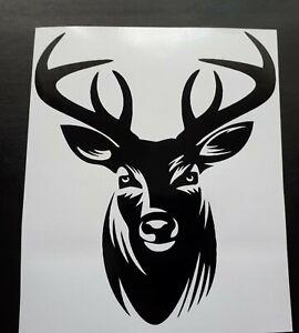 "small 7"" stag deer hunter head vinyl graphic car van bonnet stickers wall art"
