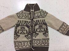 REY WEAR Vintage Thick 100% Wool Handmade Cardigan Sweater Jacket Ecuador