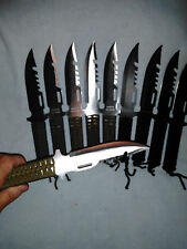 10 Survival knives 4 BLACK 6 SILVER Fish BUG OUT wholesale Lot Hunting Combat