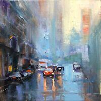 Rainy City oil painting original, impressionism art by Emiliya Lane 12x12
