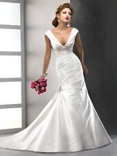 Wedding dress Guinevere by Sottero Mikado slim A-line cap-sleeves deep V-neck Iv