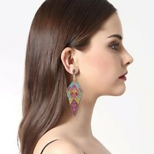 ART DECO MIX  COLOUR GOLD CRYSTAL DANGLE DROP EARRINGS PARTY LADIES GIFT UK