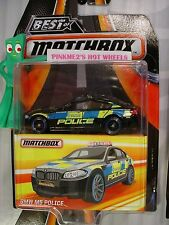 2017 Best of Matchbox BMW M5 POLICE☆Black/gray;blue/yellow; real rubber tires☆