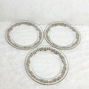 """VTG Arcoroc 3 Christmas Holly Berry Salad Plates 8"""" Red Ribbon Gold Trim Holiday"""