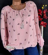 Bluse Carmen Italy Tunika Shirt Viskose doppellagig Anker Rosa 44 46