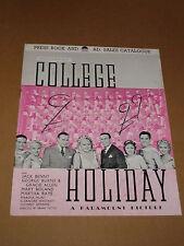 """College Holiday"" (Jack Benny/George Burns/Gracie Allen) 1936 UK Press Book"