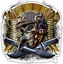 Skull Bullets Military Army Marine Gun Cigar Car Bumper Vinyl Sticker Decal 4.6""