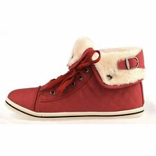 Unisex Kids HighTops Trainers Shoe Check Detail Fur Lined Lace Up Casual Sneaker
