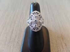 Style Stone Cocktail Ring Sz 9 Sterling Silver .925 Victorian Filigree Diamond
