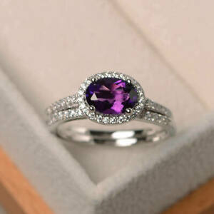 14K White Gold Over 1.90 Ct Oval Cut Amethyst Bridal Set Diamond Proposal Ring