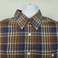 Orvis 100% Cotton Mens Brown Blue Check Plaid Dress Button Shirt Size Large L