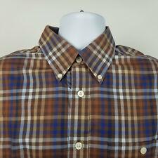 Orvis 100% Cotton Mens Brown Blue Check Plaid Dress Button Shirt Size Large L