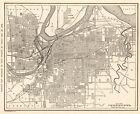1921 Antique  KANSAS CITY Street Map of Kansas City Missouri & Kansas 9440