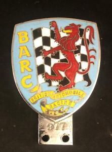 BARC BRITISH AUTOMOBILE RACING CLUB MOTOR ENAMEL CHROME CAR BADGE EMBLEM MEMBERS