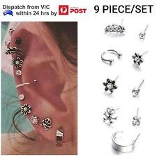 9 Piece Earring Set Silver Feather Skull Flower Crystal Ear Cuff Stud Earrings