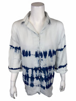 Laurie Felt Women's Tencel Tie-Dye Painter's Shirt Top Indigo Stripe Small Size