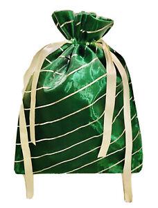 GREEN ORGANZA MEDIUM DRAWSTRING GIFT BAG WITH SILVER DIAGONAL STRIPES