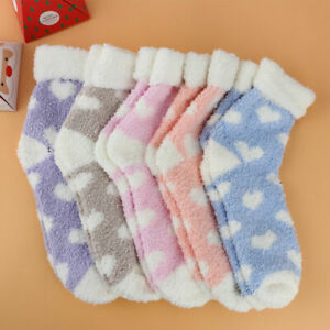 Winter 5 Pairs Ladies Heart Warm Bed Cosy Lounge Soft Floor Fluffy Socks Decor