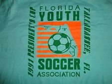 Green VINTAGE Screen Stars 1991 Presidents Cup Youth Soccer T-Shirt Mens XL NICE