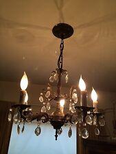 Brass & Crystal Chandelier Vintage