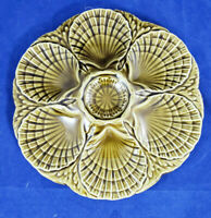 Vintage Majolica Green Oyster, Clam plate France Signed