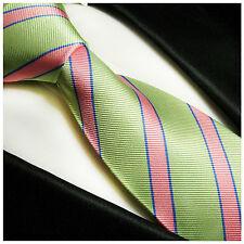 Paul Malone Krawatte gestreift - grün pink gestreifte Seidenkrawatte 844