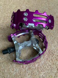 "Old School BMX Beartrap Pedals Purple - 1/2"" for 1 piece cranks"