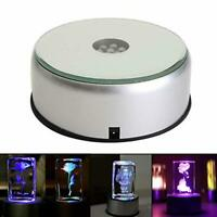 "4"" Glass Crystal Display Base Stand with Led Rotating Light Color Changing Decor"