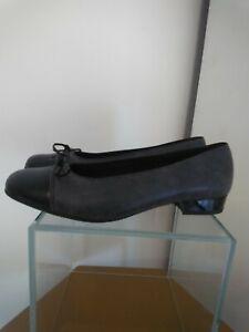 Ara Court Shoes Black With Grey Herringbone Pattern EUR 40