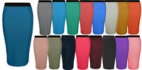 Ladies New Bodycon Long Plain Maxi Stretch Jersey Stretch Pencil Tube Skirt 8-14