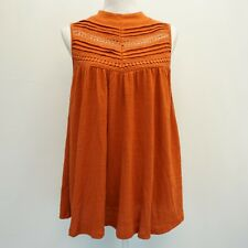 Cable & Gauge Womens Top Sleeveless Lace Trim Keyhole Back Blouse Orange S $60