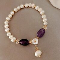 14K Gold Irregular Pearl Flower Bracelet Bangle Chain Women Party Jewelry Gifts