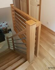 Oak&Chrome Pipe Banister System Full Set Incl Handrails and Newel Posts