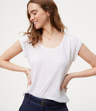 NWT Ann Taylor LOFT Linen scoop neck Tee Shirttail White Various Sizes XXL 2XL
