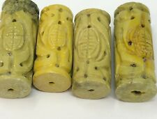 4 Carved Turquoise SHOU Tube Pendants Beads ~ 4 Chartreuse Turquoise Beads