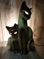 Vtg KRON Siamese Cat Kitten TV Lamp Figurine Night Light Glowing Eye Mid-Century