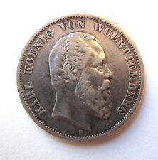 Rare 1876 F German Empire Funf Mark Silver Coin, Karl Koenig von Wuerttemberg