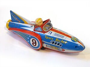 """1960s Tin Japan Friction """"SPACE ROCKET 9 WITH DETONATION"""" EXC Works!!"""