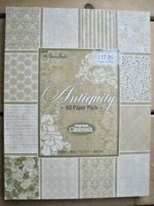 ANTIQUITY Premium CARDSTOCK 60 pack textured 8.5x11 Acid free 20 designs 3 of ea