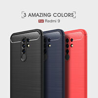 For Xiaomi Redmi 9 Luxury Shockproof Armor Carbon Fiber Hybrid Brush Case Cover