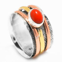 Coral 925 Sterling Silver Meditation Statement Ring Spinner Ring s14